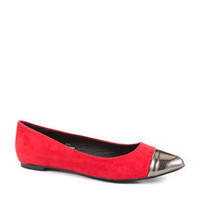 London Rebel Red Toe Cap Pumps