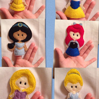 Princess finger puppets embroidered, puppet, kids, children, toys, games, make believe, pretend play, felt, classic princesses, story time