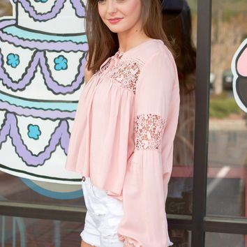 Blush Crochet Peasant Top