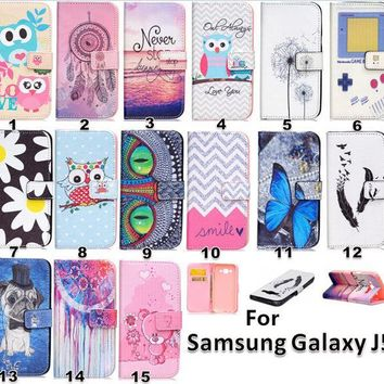 ICIKHY9 For Galaxy J5 case Pattern Leather Pu Wallet Stand Flip Card Slot Phone Case Cover For Samsung Galaxy J5 J500 J5000 phone case
