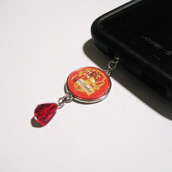 Harry Potter Gryffindor Cellphone Dust Plug Cellphone Charm Accented with a Ruby Crystal