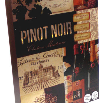 Pinot Noir Chateau Wine Sign Light Up Grapes Bottles Glass 16x12 Large Plaque
