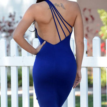 Backless One-Shoulder Sleeveless Bodycon Dress