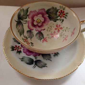 Vintage Hand Painted Wales Japan Tea Cup and Saucer Set