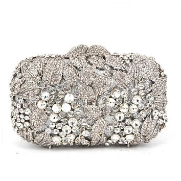 silver Women Rhinestone Evening Bag white Crystal Studded Diamante Designer Clutches Evening Party Purse Ladies Clutch Bag