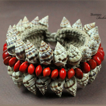 Brown Patterned Seashell,Red Seed Bracelet. Handwoven Beaded Hippie/Bohemian/Gypsie Summer Nautical Beach Jewelry Bangle Curled Shells