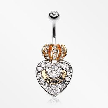 Golden Crown on Heart Belly Ring