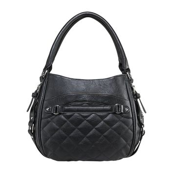 Quilted Hobo Bag Includes a Universal Holster & Snap-button Closure - Black
