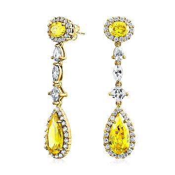 Statement Canary Yellow Drop Chandelier Earrings 14K Gold Plated
