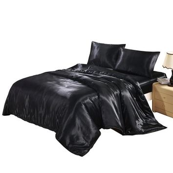 Solid Color Satin Faux Silk Bedding Set Black Duvet Cover Set Silky Bed Cover US Twin Queen King UK Single Double King