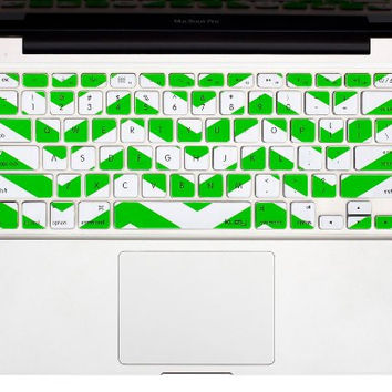 "Green Chevron Stripe Keyboard Cover Decal Skin for Apple Macbook Macbook Pro iMac Keyboard  13"" 15"" 17"""
