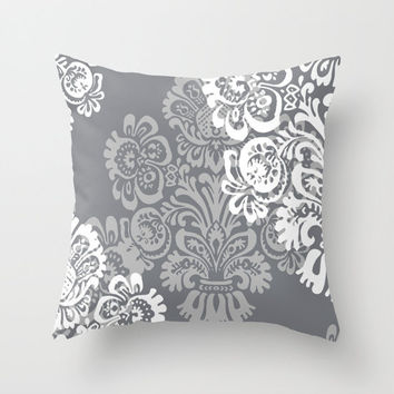 Gray + White Pillows, Damask Pillow Cover, Decorative Pillows, Throw Pillows, Throw Pillow Covers, 16x16, 18x18, 20x20, Grey Pillow