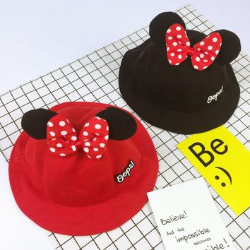 Newborn Toddler Baby Bucket Caps Cute Mickey Ear Girls Boys Caps Spring Summer Sun Proof Hat Baby Sunshade Caps