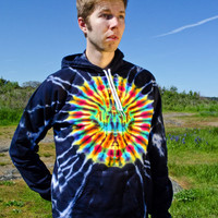 Tie Dye Men's Black Trippy Hoodie - Hand Dyed Hippie Pull Over Sweatshirt - Festival Wear