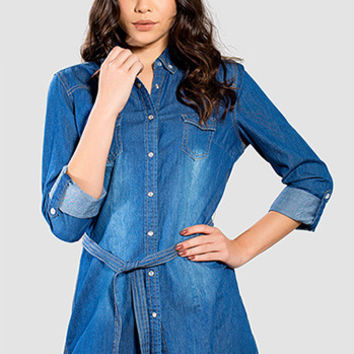 Junior Belted Chambray Tunic Top