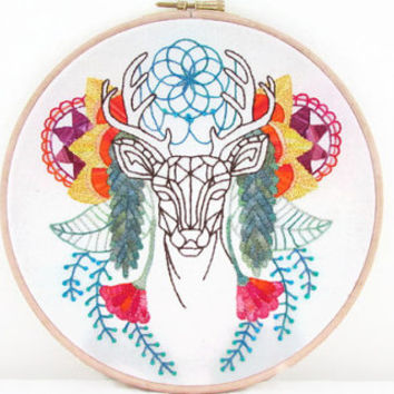 Abstract Deer embroidery hoop , colourful modern hand embroidery , large decorative wall hanging uk seller