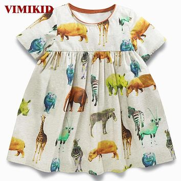 Baby Girls Dresses Robe Princess Dress Costumes for Kids Clothing animal Print Cotton Girls Jersey Clothes