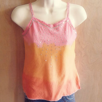 Upcycled Sunset Dip Dye Sequin Yoke Tank Top - XS/S