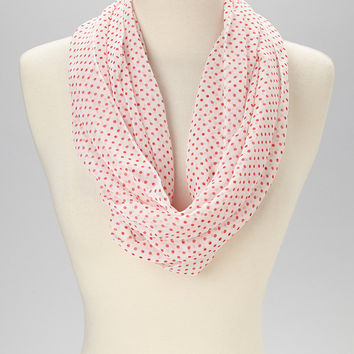 Women Lightweight Soft Casual Red White Polka Dots Pattern Infinity Scarf