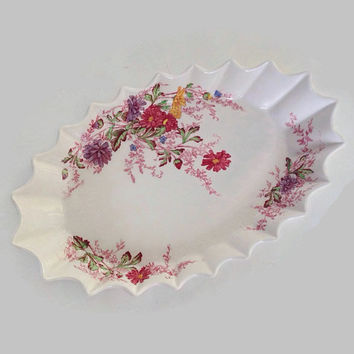 Vintage Spode China- Porcelain Pickle Dish-Ferry Dell Pattern-Made in England-Multicolor Floral Sprays-Swirl Rim-Replacement China