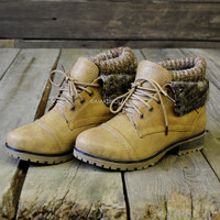 Mountain Trek Tan Cuffed Ankle Boots