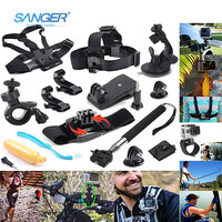 SANGER for Gopro Accessories  12in1 Sports Essentials Kit for Xiaomi Yi 4K Go Pro Hero 5 4 3+ 3 2 Sjcam sj4000 Action Camera