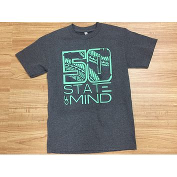 """50th State of Mind """"Logo Tribal"""" Men's Heather Gray T-Shirt"""