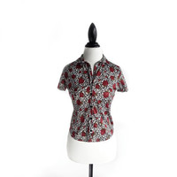 90's Leopard Roses Button Up Crop Top T-Shirt // M