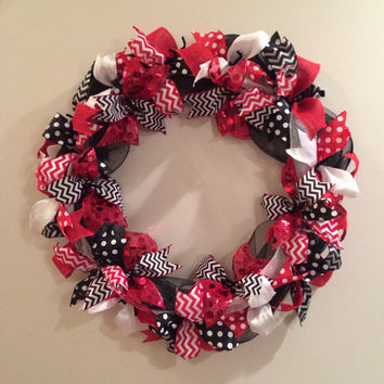 "Large 28"" Red White Black Deco Mesh and Ribbon Wreath Christmas Louisville Cardinals Atlanta Georgia Arizona Cincinnati"