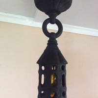 Arts & Crafts Gothic Tudor Ceiling Hanging Porch Light Cast Iron Antique 1910