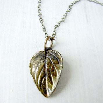 Oxidized Silver Necklace with Green Leaf Pendant