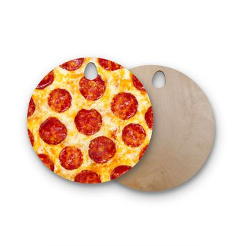 "KESS Original ""Pizza My Heart"" Pepperoni Cheese Round Wooden Cutting Board"