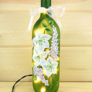 Lighted Wine Bottle White Azalea Flowers Purple Lilac Hand Painted 750 ml