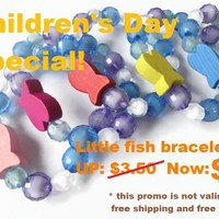 Girls Mix Colors Beaded Wood Fish Blue Water Bracelets Party Favor