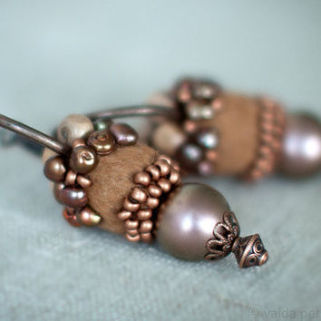 Unique Hoop Brown and Copper Earrings with Handmade Felt by vart
