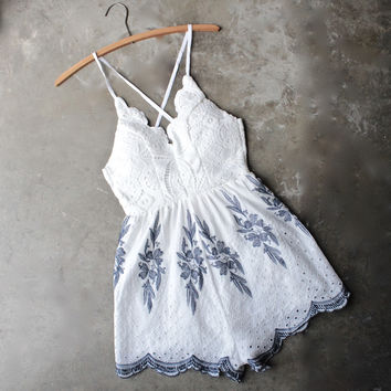 white + navy embroidery crochet open back romper