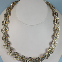 Vintage Rhinestone Necklace Curved X Shaped Links Gold Tone Metal