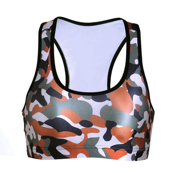 Hot Sale Print Camouflage With Steel Wire Sports Bra [6533667463]