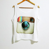 Instagram Logo Rocker Pop Rock Women Sleeveless Tank Top Tanktop Tshirt Vest  Custom T Shirt Tee