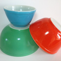 Pyrex Primary Color Mixing Bowl Trio # 401 402 403 Primary Color Nesting Bowls Blue Red Green