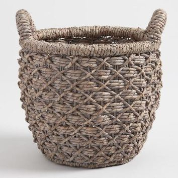 Small Gray Hyacinth Evelyn Tote Basket