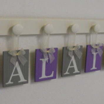 Purple and Gray - ALAINA with Hearts - Baby Girl Personalized Wall Decorations Includes 8 Wooden Plaque Letters and Pegs in Linen White