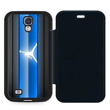 Air Jordan Blue Leather Wallet Flip Case Samsung Galaxy S4