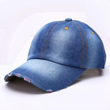 RONGZ003 Outdoor Men And Women Blue Denim Fitted Baseball Caps Blank Washed Cotton Casual Snapback Hats Bone Casquette Ripped