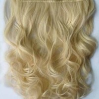 "Curly 3/4 Full Head Clip in Remy Hair Extensions One Piece 5 Clip Ins (Curly 20"", Blonde)"