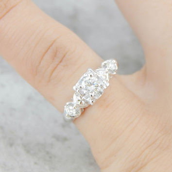 Stunning Vintage Diamond Engagement Ring in Frilled White Gold 6R770C-D