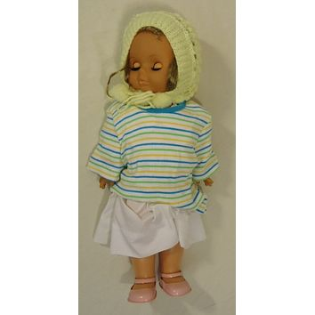 Generic 18-312fg Vintage Baby Doll with Crocheted Hat 18in Plastic Fabric -- Used