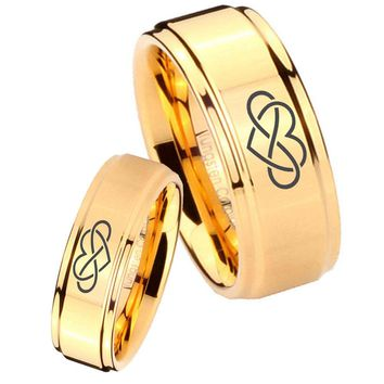 His Her Glossy Step Edges Infinity Love 14K Gold IP Tungsten Wedding Rings Set