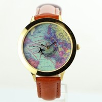 World Map Watch Vintage Travel Around The World Map Leather Brown Wristwatch