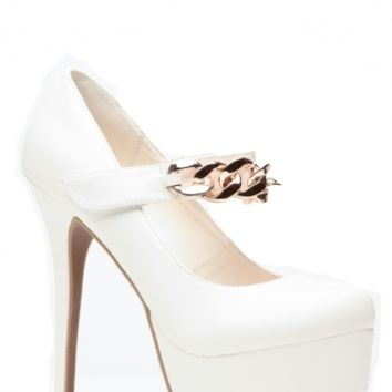 e5d3f008291d3 Faux Leather White Almond Toe Gold Chain Pumps @ Cicihot Heel Shoes online  store sales: